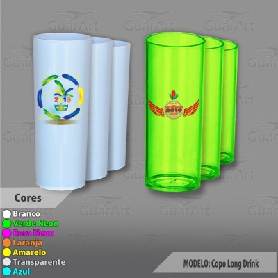 Copo Long Drink Acrílico diversas cores Exclusivo Personalizado 350 ml